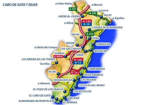 Карта испанской провинции Алмерия (Almeria)